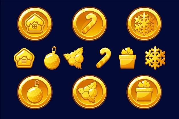 Merry christmas golden coins. happy new year coin. gold illustrations for assets game. objects on a separate layer.