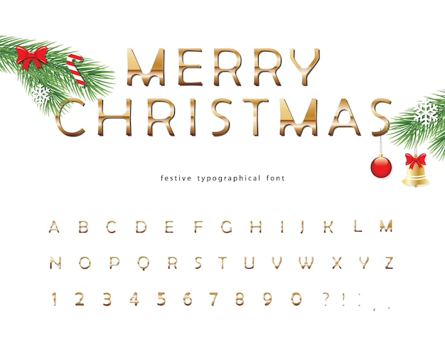 Merry christmas golden decorative font.