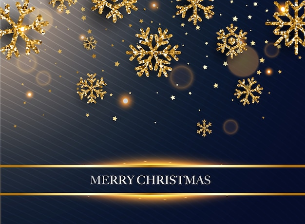 메리 크리스마스. 어두운 배경에 황금 반짝이 눈송이.