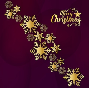 Merry Christmas Golden Greeting with text