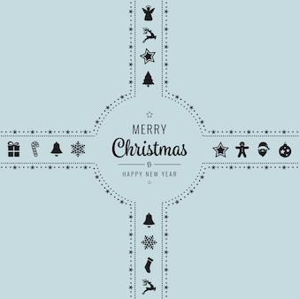 メリークリスマスゴールデンアイコンリボン弓青色の背景