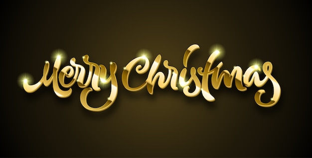 Merry christmas golden lettering with volume and shiny sparkles on black background