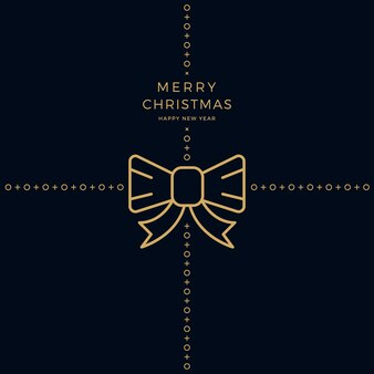 메리 크리스마스 황금 리본 활 검은 배경