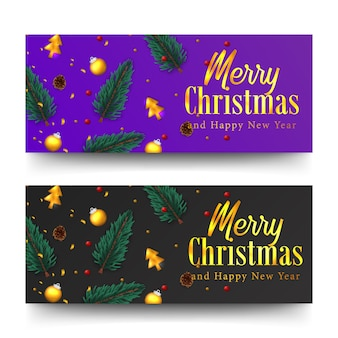 Merry christmas golden text and confetti. xmas banner template. fir spruce leaves, bauble ball
