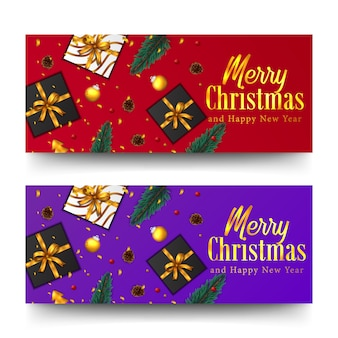 Merry christmas golden text and confetti. xmas banner template. fir spruce leaves, present box, bauble ball