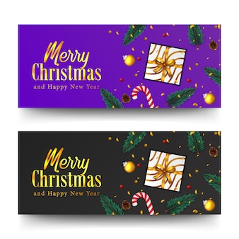 Merry christmas golden text and confetti. xmas banner template. fir spruce leaves, present box, candy cane, bauble ball