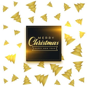 Merry christmas golden tree pattern background