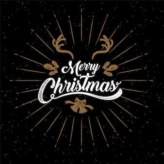 Merry christmas, golden vector illustration.