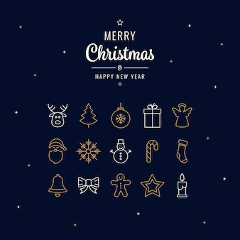 Merry christmas golden white line icons greeting background
