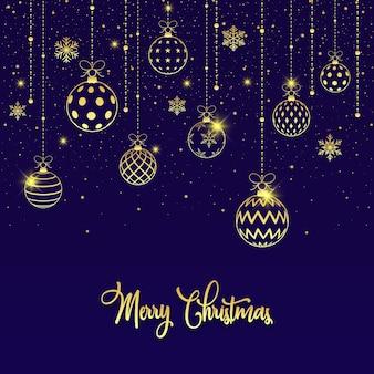 Счастливого рождества золотые рождественские шары фон