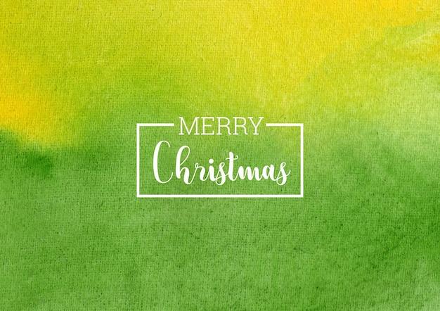 Счастливого рождества зеленый и желтый акварельный фон