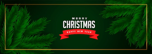 Merry christmas green banner with pine tree leaves