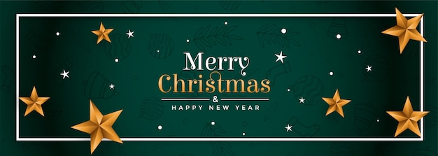 Merry christmas green festival banner with golden stars