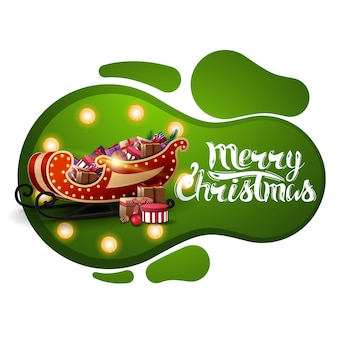 Merry christmas, green postcard in lava lamp style with yellow bulb and santa sleigh with presents isolated