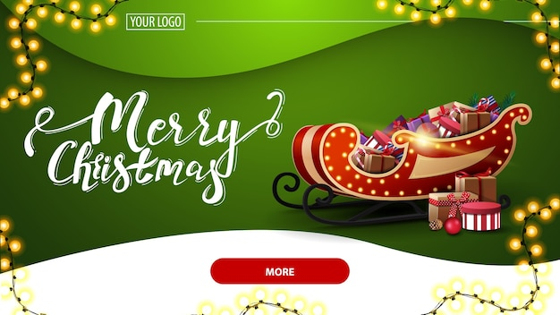 Merry christmas, green postcard with beautiful lettering, garland, green background, red button and santa sleigh with presents