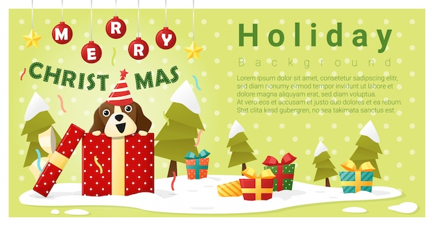 Merry christmas greeting background with dog inside gift box