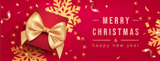 Merry christmas greeting banner with chrirstmas decor fir twigs and confetti, vector illustration.