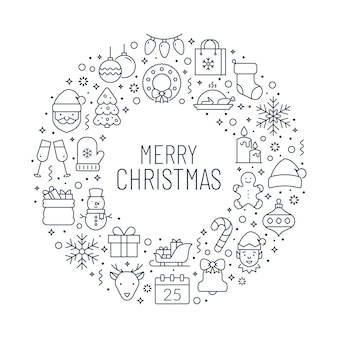 Merry christmas greeting banner with holiday outline icons.