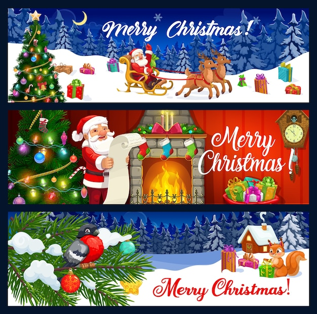 Merry christmas greeting banners.