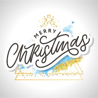С рождеством христовым приветствие каллиграфии черный текст слово. элементы дизайна рисованной.