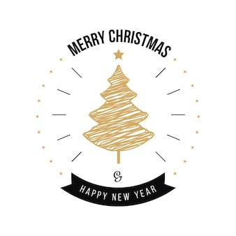 Веселое рождество приветствие каллиграфия золотое дерево на белом фоне