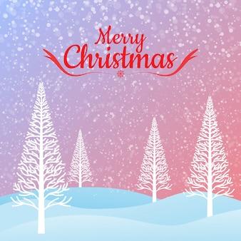 メリークリスマスグリーティングカードとクリスマスツリー。