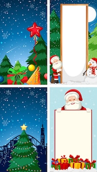 Merry christmas greeting card background with santa claus character