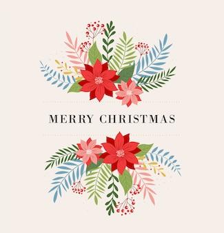 С рождеством христовым поздравительная открытка, баннер и в элегантном, современном и классическом стиле с листьями