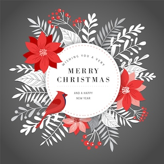 Merry christmas greeting card, banner and background with leaves, flowers and a bird