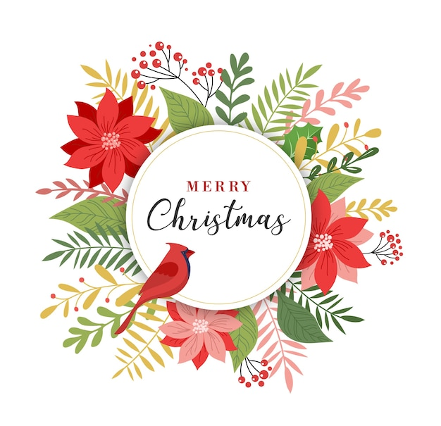 Merry christmas greeting card, banner and in elegant, modern and classic style with leaves