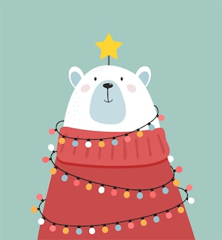 Merry christmas greeting card, banner. white polar bear looking like a xmas tree, vector cartoon illustration