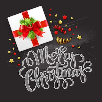 Merry christmas greeting card, christmas gift box, greeting card.