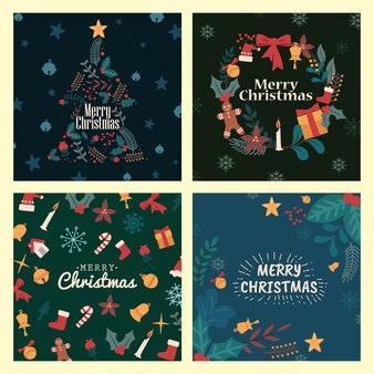 Merry christmas greeting card christmas item set collection