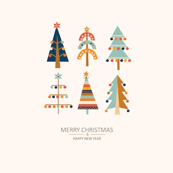 메리 크리스마스 인사말 카드, 크리스마스 나무입니다.