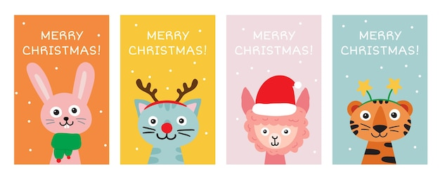 Merry christmas greeting card collection. cute hand drawn animals hare or rabbit, cat, llama or alpaca, tiger