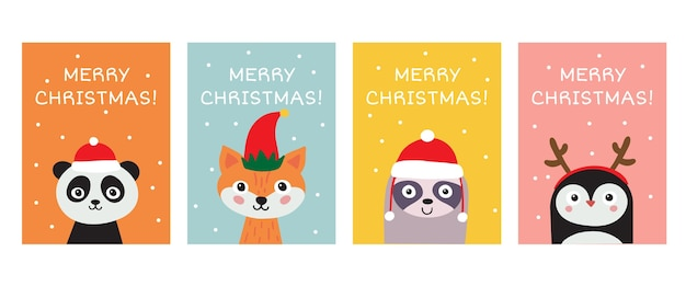 Merry christmas greeting card collection. cute hand drawn animals panda, fox, sloth, penguin