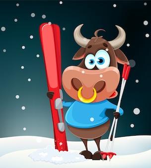 メリークリスマスのグリーティングカード。かわいい牛