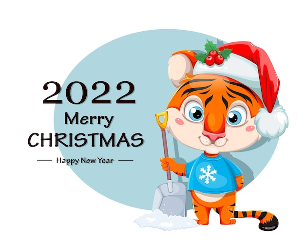 메리 크리스마스 인사말 카드입니다. 눈 삽을 들고 산타 모자에 귀여운 만화 캐릭터 호랑이. 흰색 바탕에 주식 벡터 일러스트 레이 션.