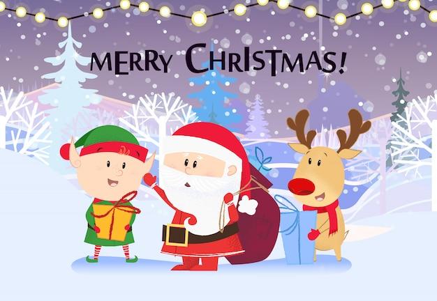 Веселая рождественская открытка. милый эльф, олень