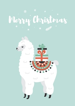 Merry christmas greeting card. cute lama with gift boxes.