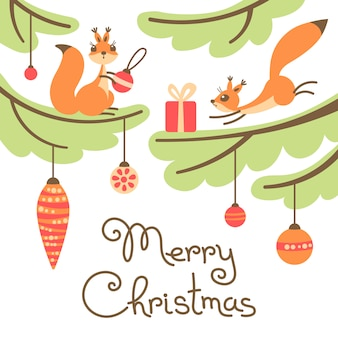 Merry christmas greeting card. cute little squirrels with gift on trees.