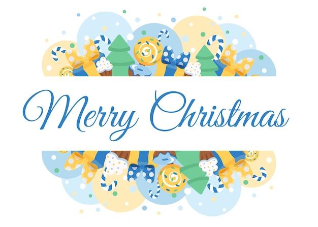 С рождеством христовым поздравительная открытка. милая открытка в пастельных тонах с елкой, подарками, конфетами и снежинкой