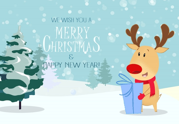 Merry christmas greeting card. cute reindeer