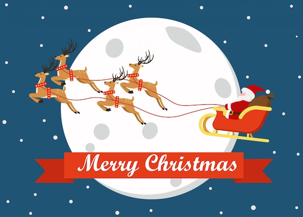 Merry christmas greeting card decoration with cute cartoon