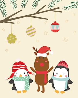 Merry christmas greeting card. deer, penguin.