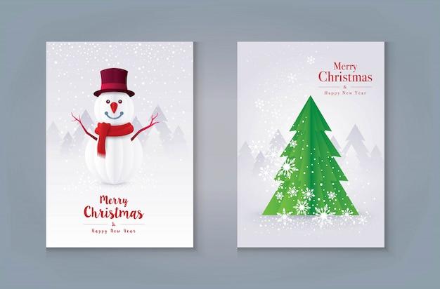 С рождеством христовым дизайн поздравительной открытки. елка и снеговик со снежинкой