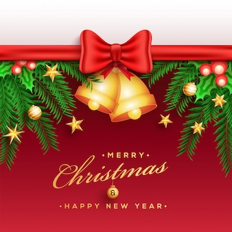Merry christmas greeting card design decorated with glossy ribbo