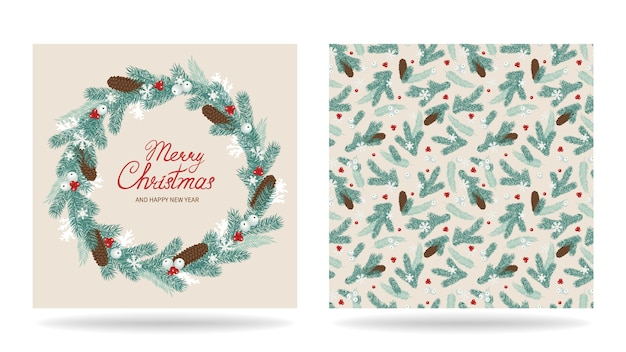 Merry christmas greeting card design decorated with wreath