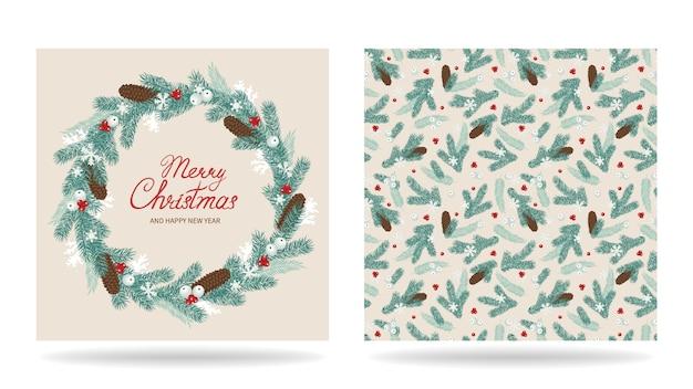 Веселая рождественская открытка с венком
