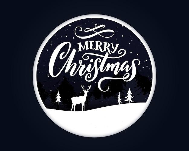 С рождеством христовым дизайн поздравительной открытки papercut каллиграфические слова и зимний пейзаж